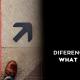 Imagem com duas setas apontando para lados opostos e os dizeres qual a diferença entre what e which